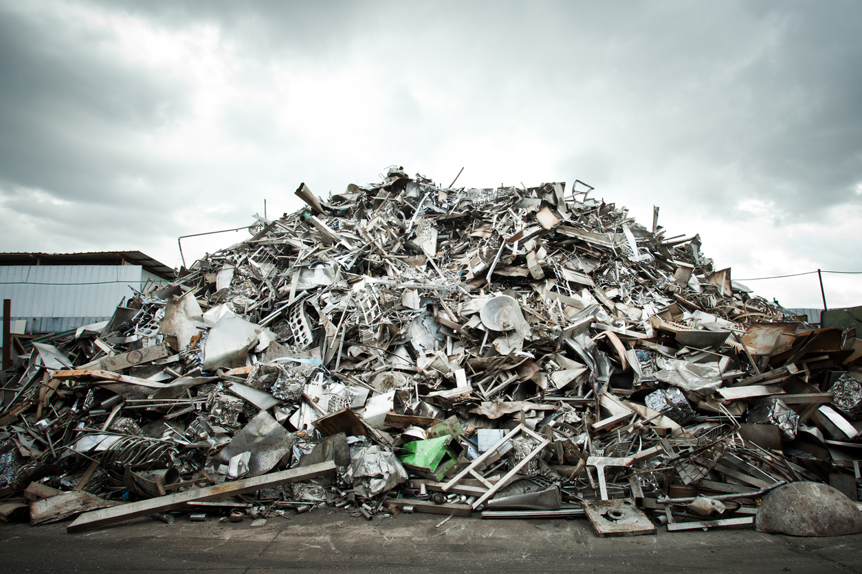Pile of Aluminium scrap for recycling
