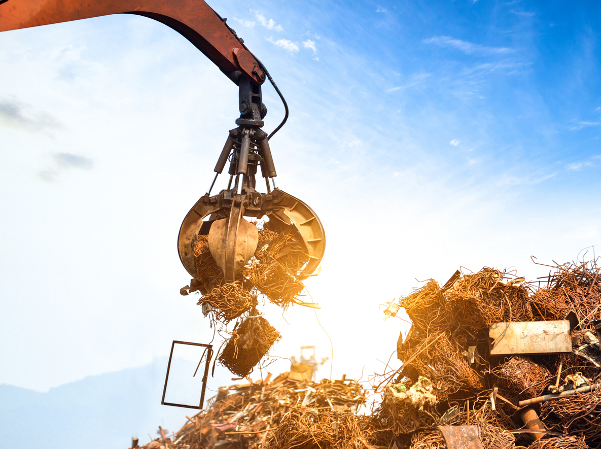 Crane grab scrap metal