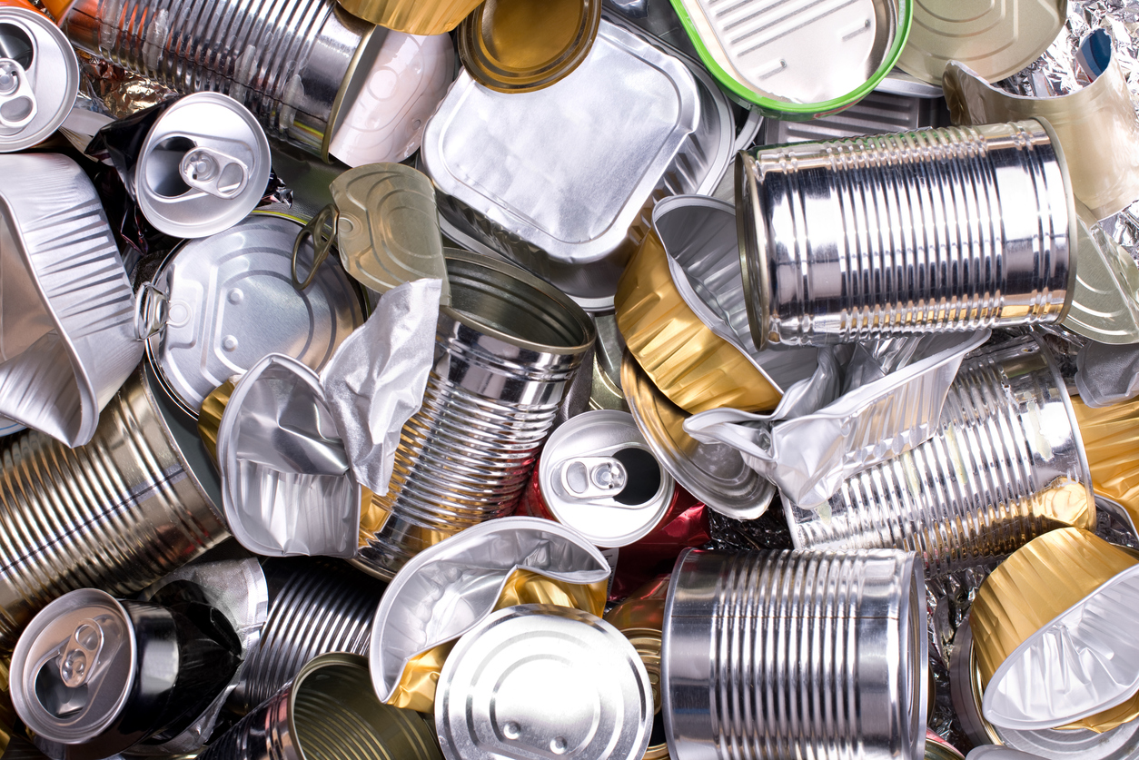 Aluminium cans and tins used in scrap metal recycling