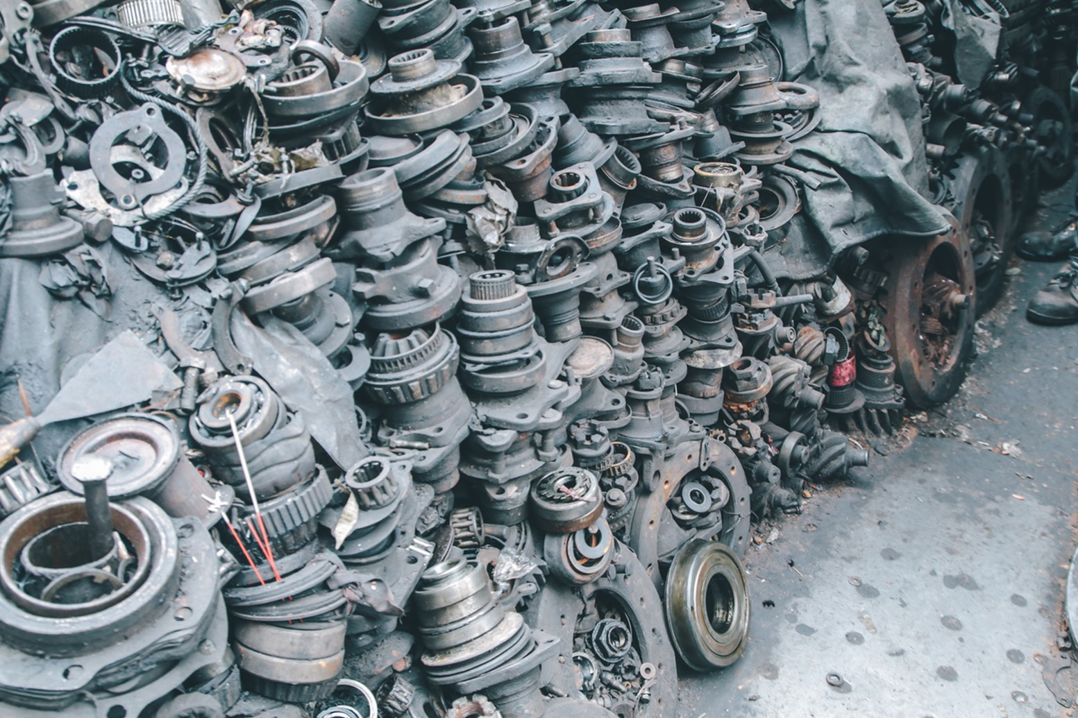 lot of stacked tyres