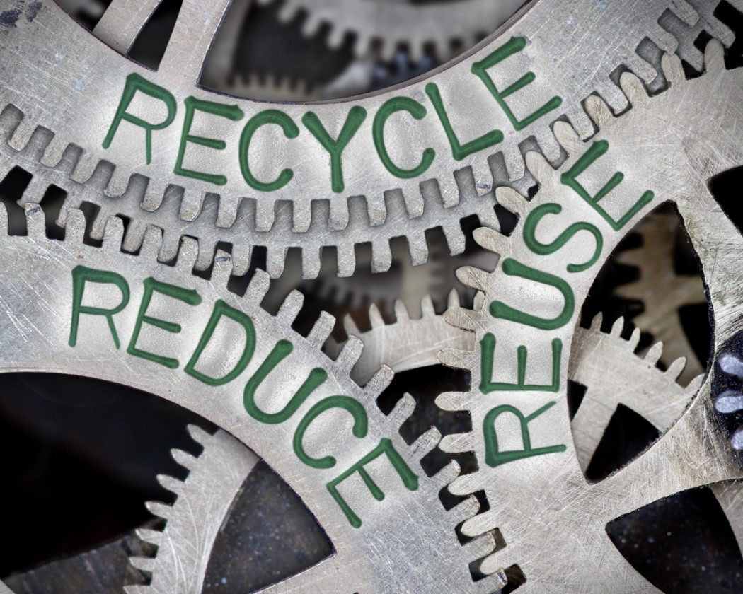 scrap metal with 'reduce, reuse recycle'